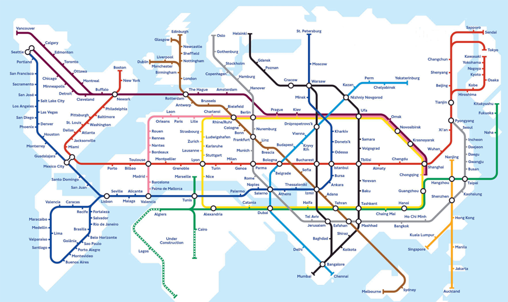 Metro map world Hyperloop